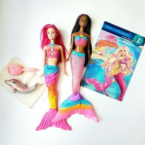 Barbie Mermaid Doll, Dolphin and book 5 Pc Bundle